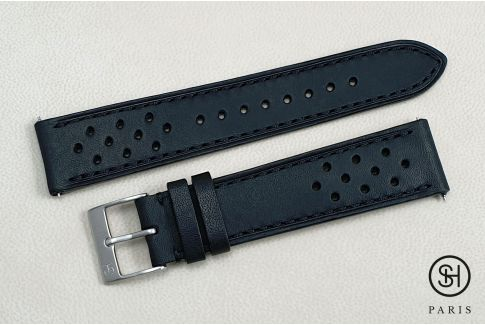 Mat Black Rallye SELECT-HEURE leather watch strap with quick release spring bars (interchangeable)