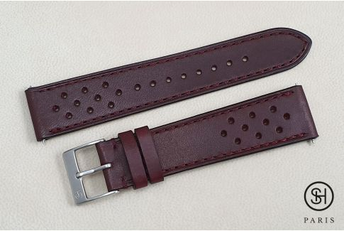 Burgundy Rallye SELECT-HEURE leather watch strap with quick release spring bars (interchangeable)
