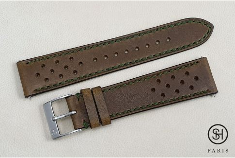 Kaki Green Rallye SELECT-HEURE leather watch strap with quick release spring bars (interchangeable)