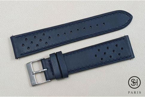 Bracelet montre cuir Rallye SELECT-HEURE Bleu Nuit avec pompes rapides (interchangeable)