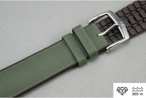 Bracelet montre HIRSCH Arne Vert Militaire (Kaki) Marron (étanche)