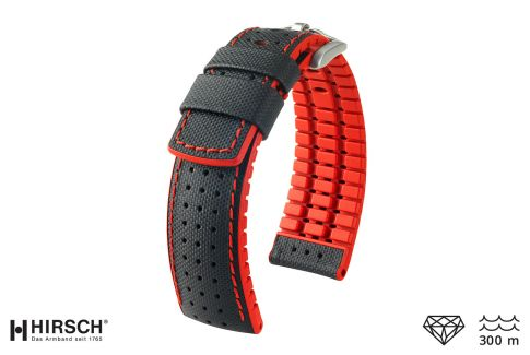 Black Red Robby HIRSCH watch bracelet (waterproof)