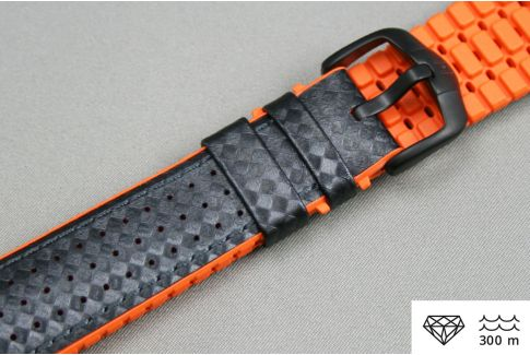 Black Orange Ayrton HIRSCH watch bracelet (waterproof)