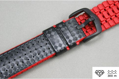 Black Red Ayrton HIRSCH watch bracelet (waterproof)