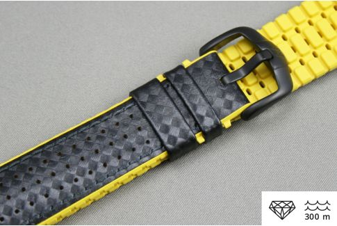 Black Yellow Ayrton HIRSCH watch bracelet (waterproof)