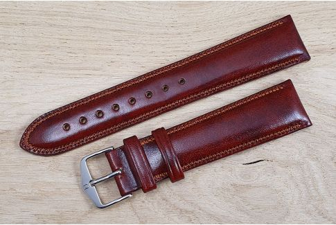 Gold Brown Ascot HIRSCH watch bracelet, English calfskin, Chesterfield style