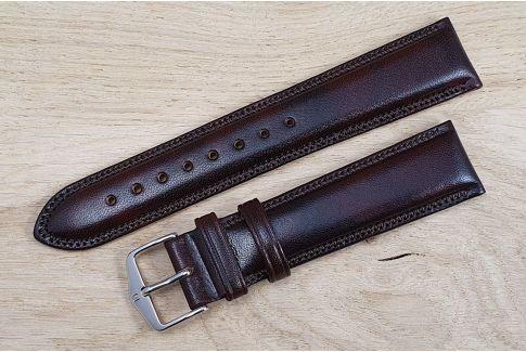 Bracelet montre HIRSCH Ascot Marron, cuir de veau anglais, style Chesterfield