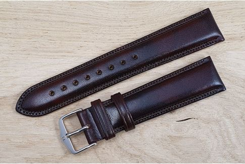 Brown Ascot HIRSCH watch bracelet, English calfskin, Chesterfield style