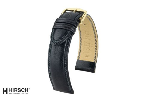Black Ascot HIRSCH watch bracelet, English calfskin, Chesterfield style