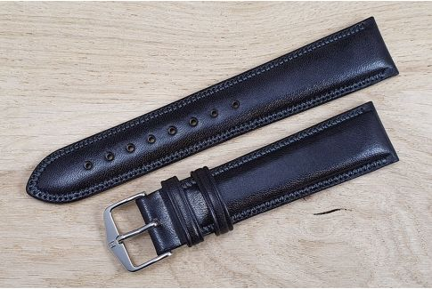 Bracelet montre HIRSCH Ascot Noir, cuir de veau anglais, style Chesterfield