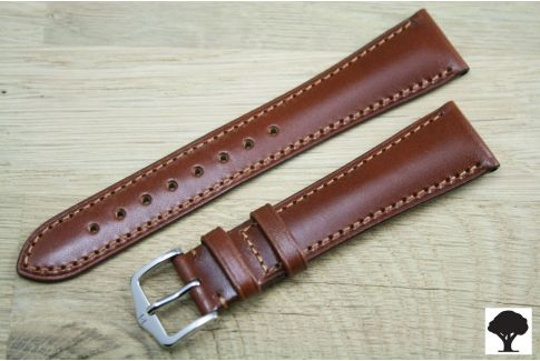 Gold Brown Siena HIRSCH watch bracelet, natural Italian calfskin