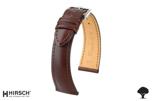 Brown Siena HIRSCH watch bracelet, natural Italian calfskin