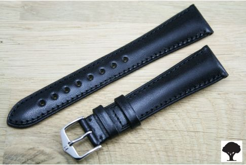 Black Siena HIRSCH watch bracelet, natural Italian calfskin