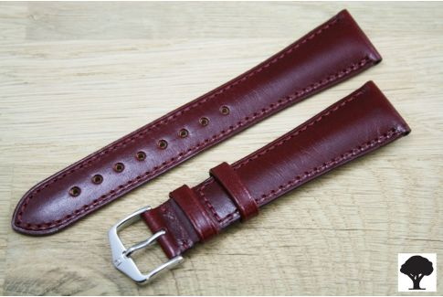 Burgundy Red Siena HIRSCH watch bracelet, natural Italian calfskin