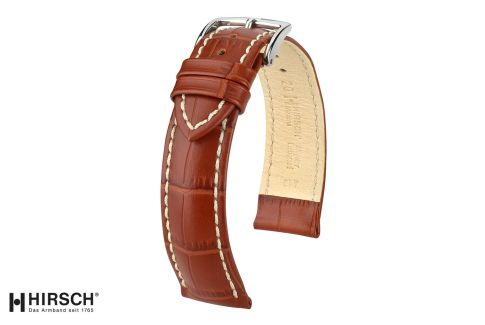 Gold Brown Modena HIRSCH watch bracelet, Italian calfskin