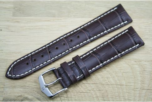 Brown Modena HIRSCH watch bracelet, Italian calfskin