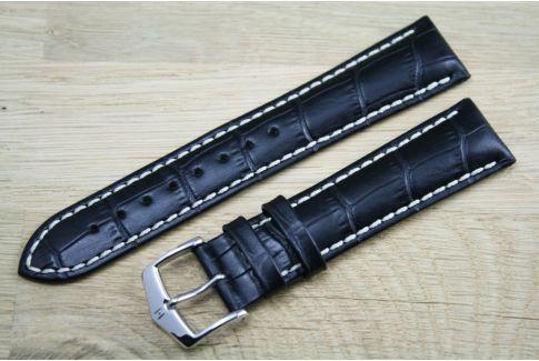 Bracelet montre HIRSCH Modena Noir, cuir de veau italien
