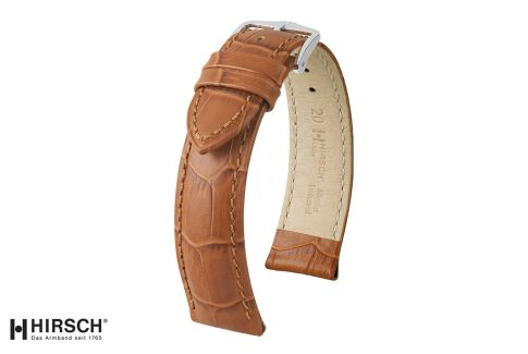 Honey Brown Duke HIRSCH watch bracelet, Italian calfskin
