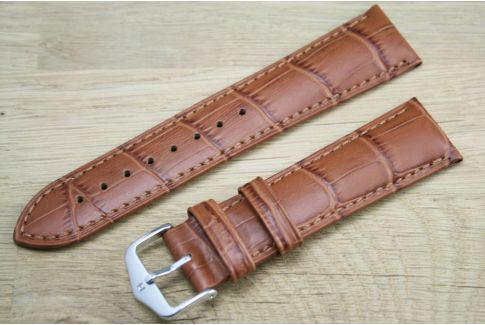 Bracelet montre HIRSCH Duke Marron Miel, cuir de veau italien