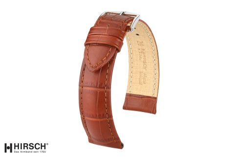 Gold Brown Duke HIRSCH watch bracelet, Italian calfskin