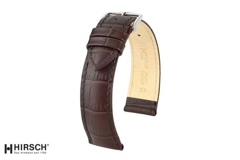 Brown Duke HIRSCH watch bracelet, Italian calfskin