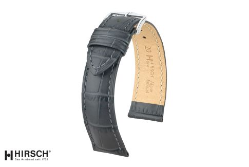 Grey Duke HIRSCH watch bracelet, Italian calfskin