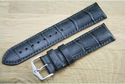 Bracelet montre HIRSCH Duke Gris, cuir de veau italien