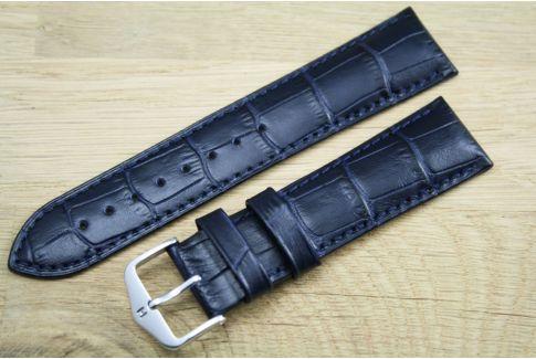 Bracelet montre HIRSCH Duke Bleu, cuir de veau italien