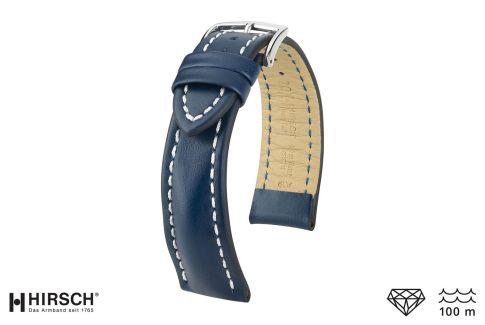 Bracelet montre HIRSCH Heavy Calf, cuir Bleu surpiqué blanc (étanche)