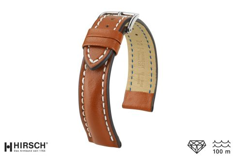 Bracelet montre HIRSCH Heavy Calf, cuir Marron Or surpiqué blanc (étanche)