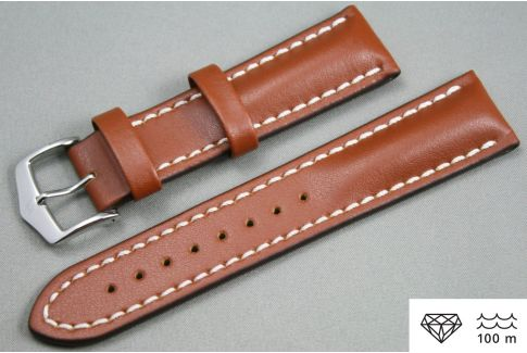 Gold Brown Heavy Calf HIRSCH watch bracelet (waterproof)