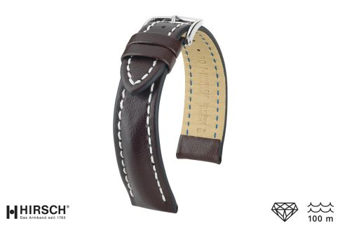 Brown Heavy Calf HIRSCH watch bracelet (waterproof)