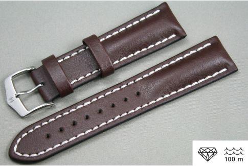 Bracelet montre HIRSCH Heavy Calf, cuir Marron surpiqué blanc (étanche)