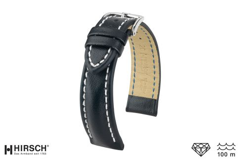 Black Heavy Calf HIRSCH watch bracelet (waterproof)