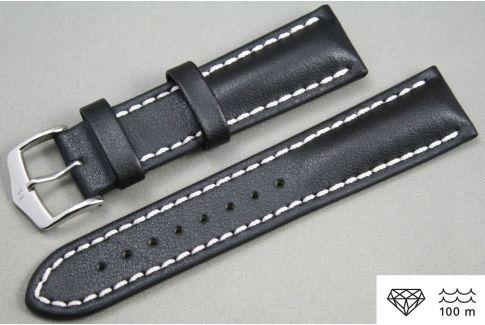 Bracelet montre HIRSCH Heavy Calf, cuir Noir surpiqué blanc (étanche)