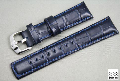 Bracelet montre HIRSCH Grand Duke, cuir Bleu (étanche)