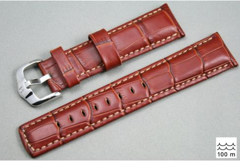 Bracelet montre HIRSCH Grand Duke, cuir Marron Or (étanche)