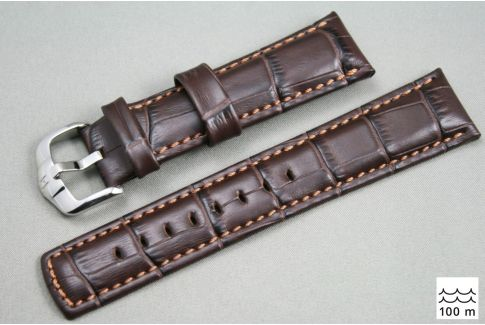 Bracelet montre HIRSCH Grand Duke, cuir Marron (étanche)