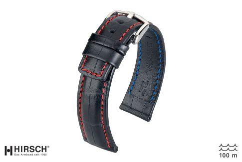 Bracelet montre HIRSCH Grand Duke, cuir Noir surpiqué Rouge (étanche)