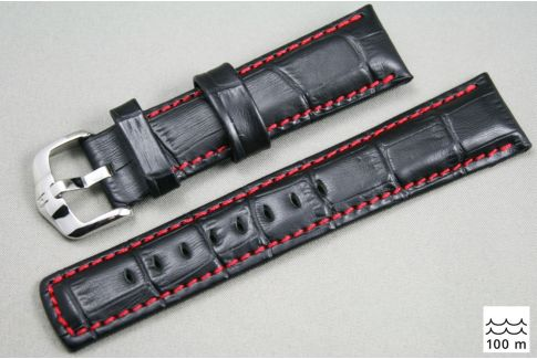 Black Red topstitching Grand Duke HIRSCH watch bracelet (waterproof)