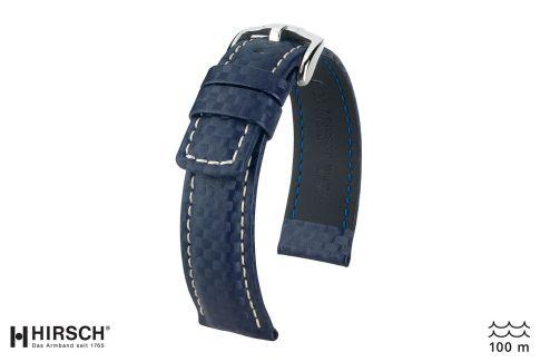 Bracelet montre HIRSCH Carbon, cuir Bleu couture Blanche (étanche)