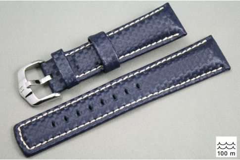 Blue White topstitching Carbon HIRSCH watch bracelet (waterproof)