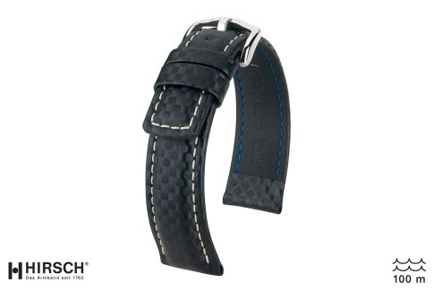 Black White topstitching Carbon HIRSCH watch bracelet (waterproof)