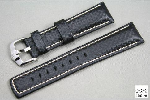 Bracelet montre HIRSCH Carbon, cuir Noir couture Blanche (étanche)
