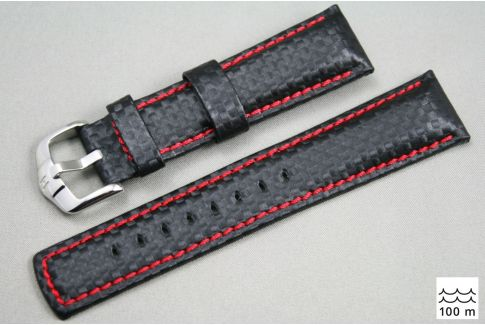 Black Red topstitching Carbon HIRSCH watch bracelet (waterproof)