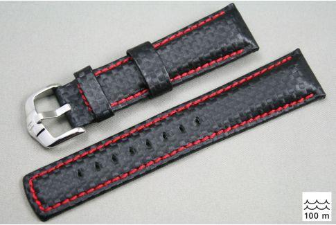 Bracelet montre HIRSCH Carbon, cuir Noir couture Rouge (étanche)