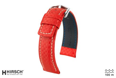 Bracelet montre HIRSCH Carbon, cuir Rouge couture Blanche (étanche)
