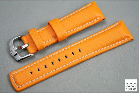 Bracelet montre HIRSCH Carbon, cuir Orange couture Blanche (étanche)