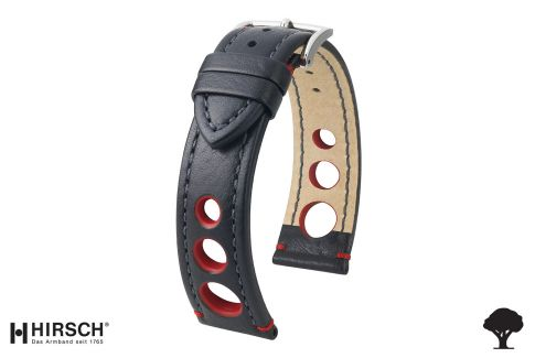 Black Red Rally HIRSCH watch bracelet (not waterproof)