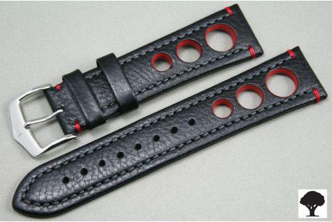 Bracelet montre HIRSCH Rally cuir Noir Rouge (non étanche)